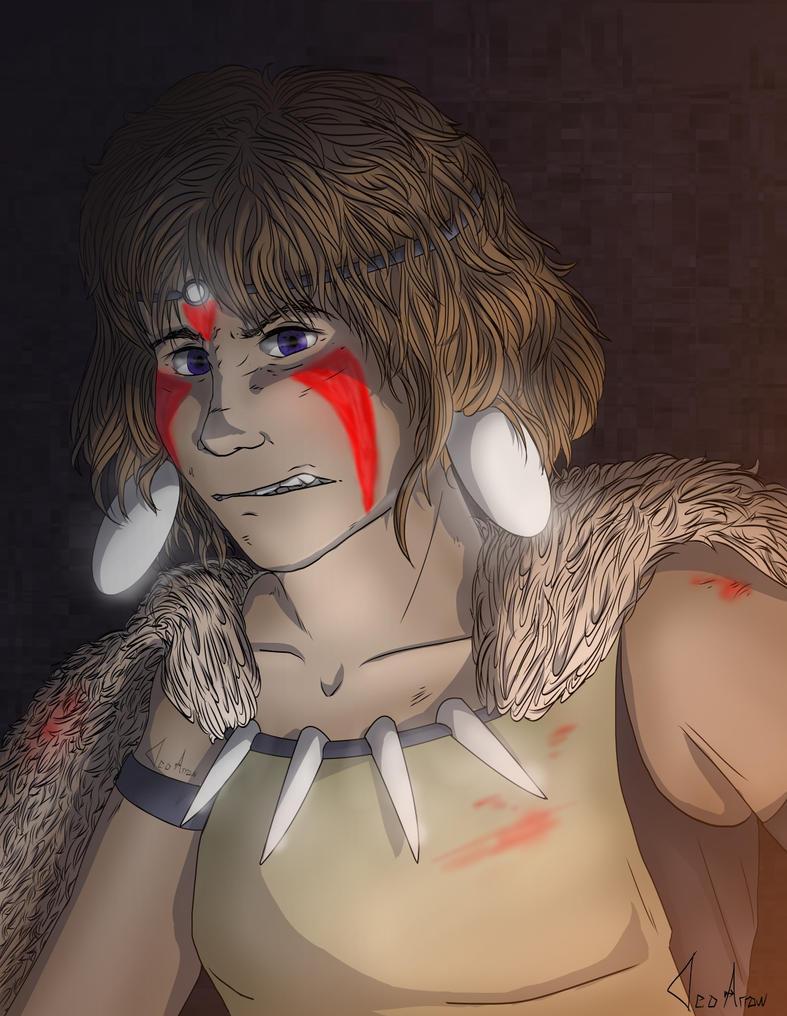 Princess Mononoke Redraw by CleoArrow