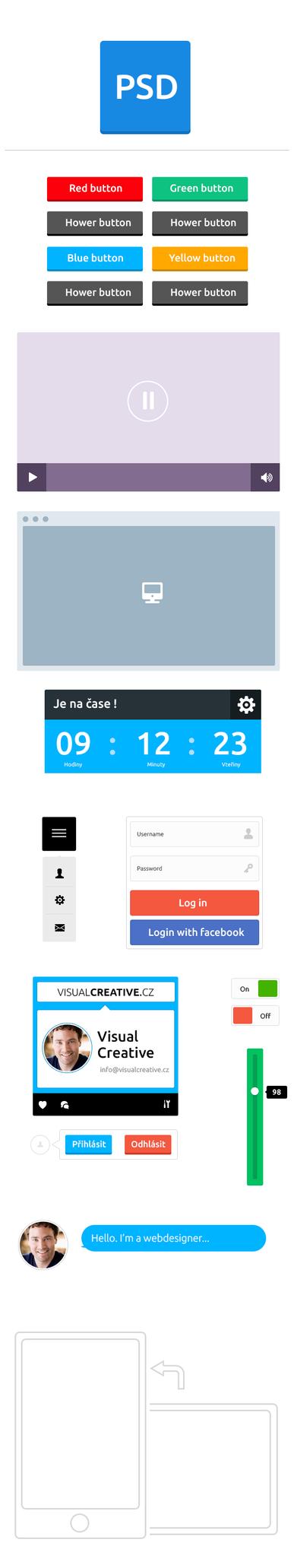 Free flat UI kit by Visual-Creative