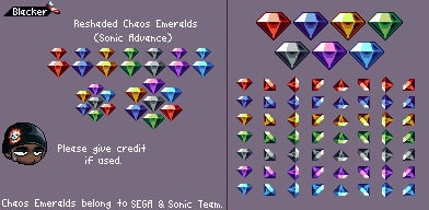 Re-shaded Chaos Emeralds (Sonic Advance)