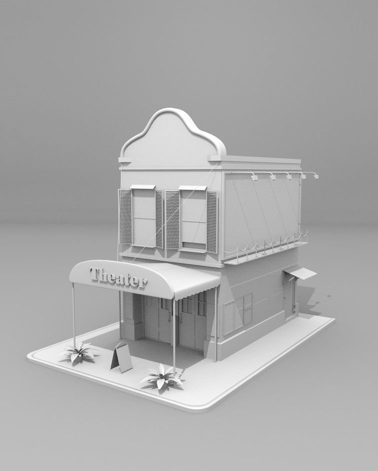 Theater building 3d model by andrixdesign