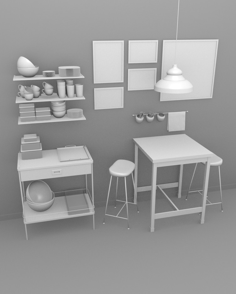Kitchen Interior set2 Blender 3D model by Andrixdesign ...