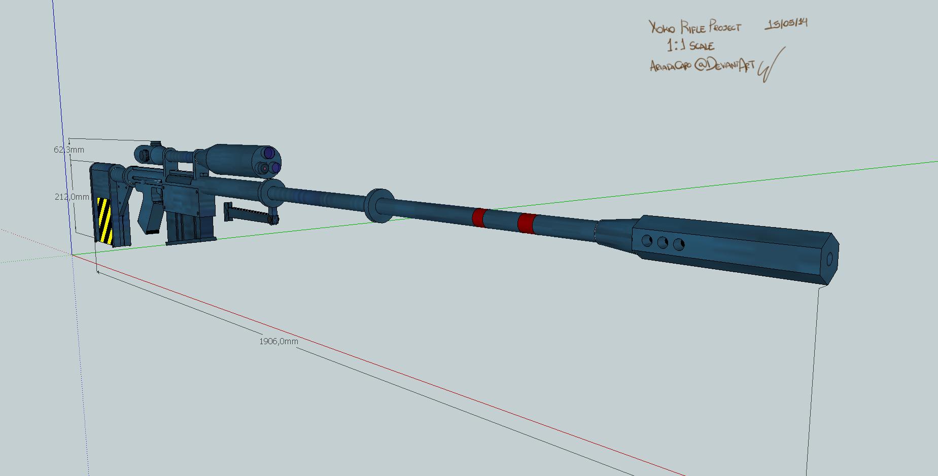 Yoko's Sniper Rifle - Sketchup design