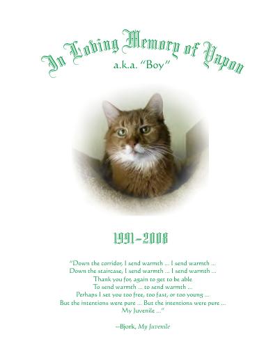 In Loving Memory of Yapou by Reyelene