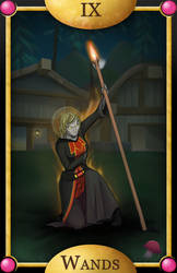 9 of Wands by mewgal