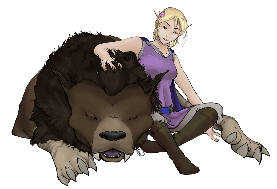 Leida and her Warg by mewgal