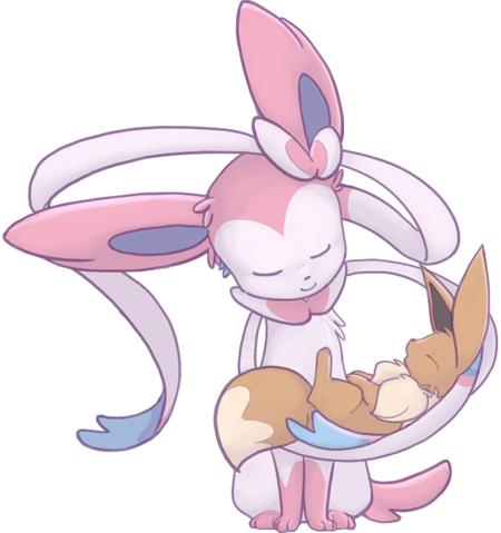 Sylveon and Eevee by mewgal
