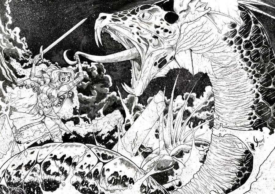 Ragnarok - Valkyrie_and_Jormungandr by Yonami