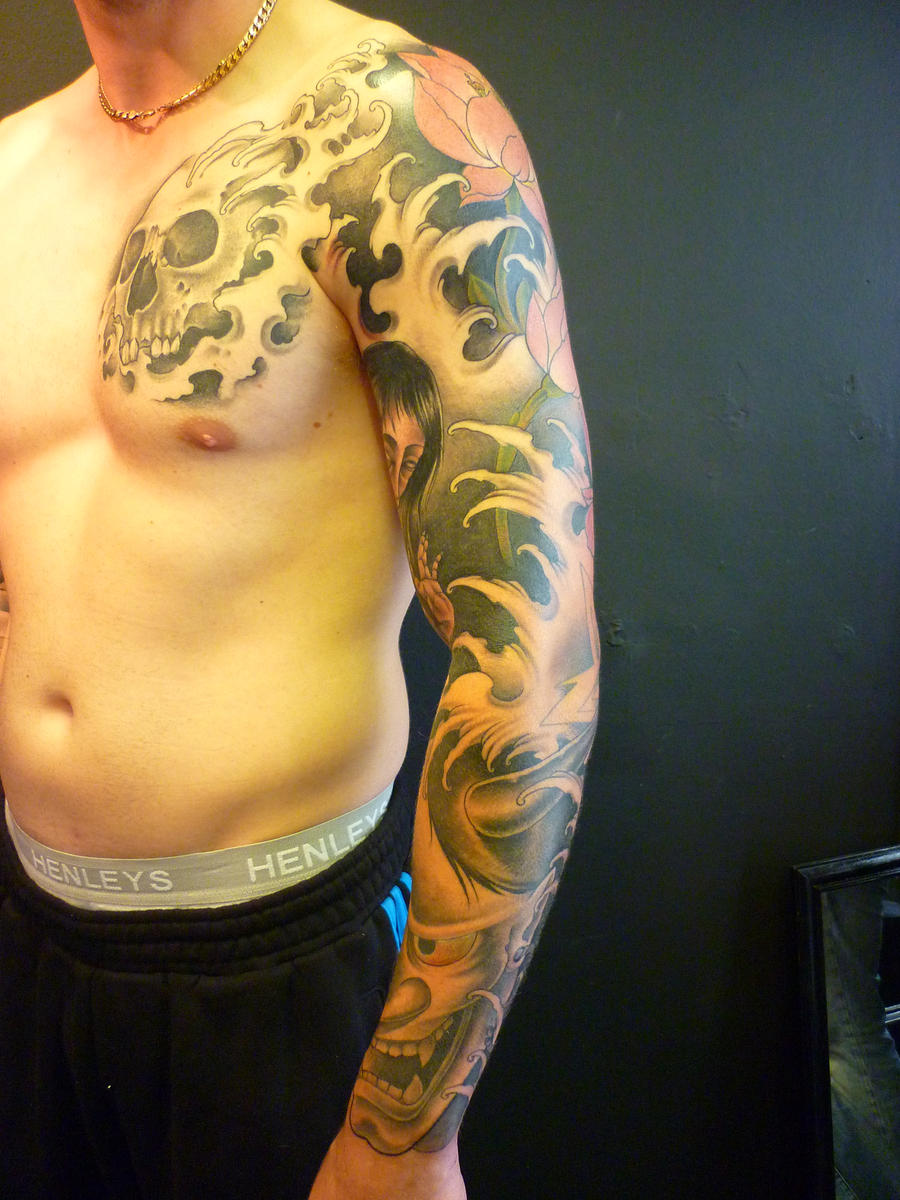 Japanese Sleeve And Chest Plate By BlackStarTattoo On