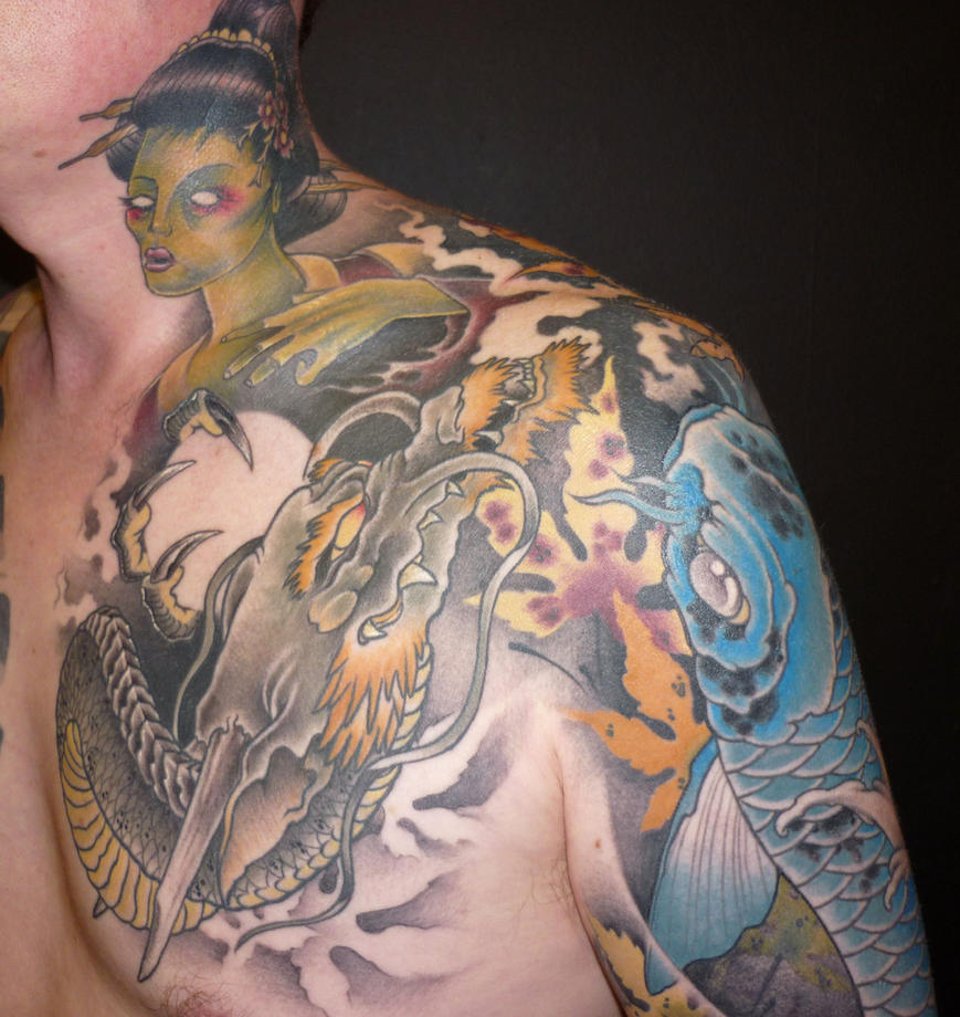 Japanese neck and chest tattoo by blackstartattoo on for Japanese style chest tattoos