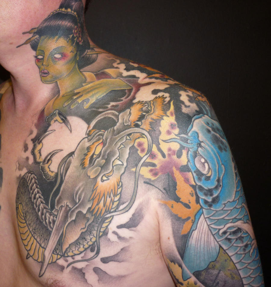japanese neck and chest tattoo by blackstartattoo on deviantart. Black Bedroom Furniture Sets. Home Design Ideas