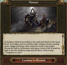 Dwarfs victory text
