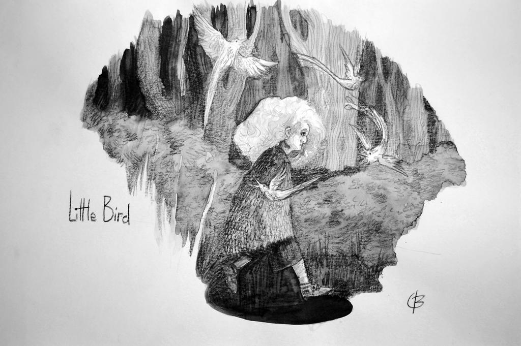 Little Bird b+w by valo-rose