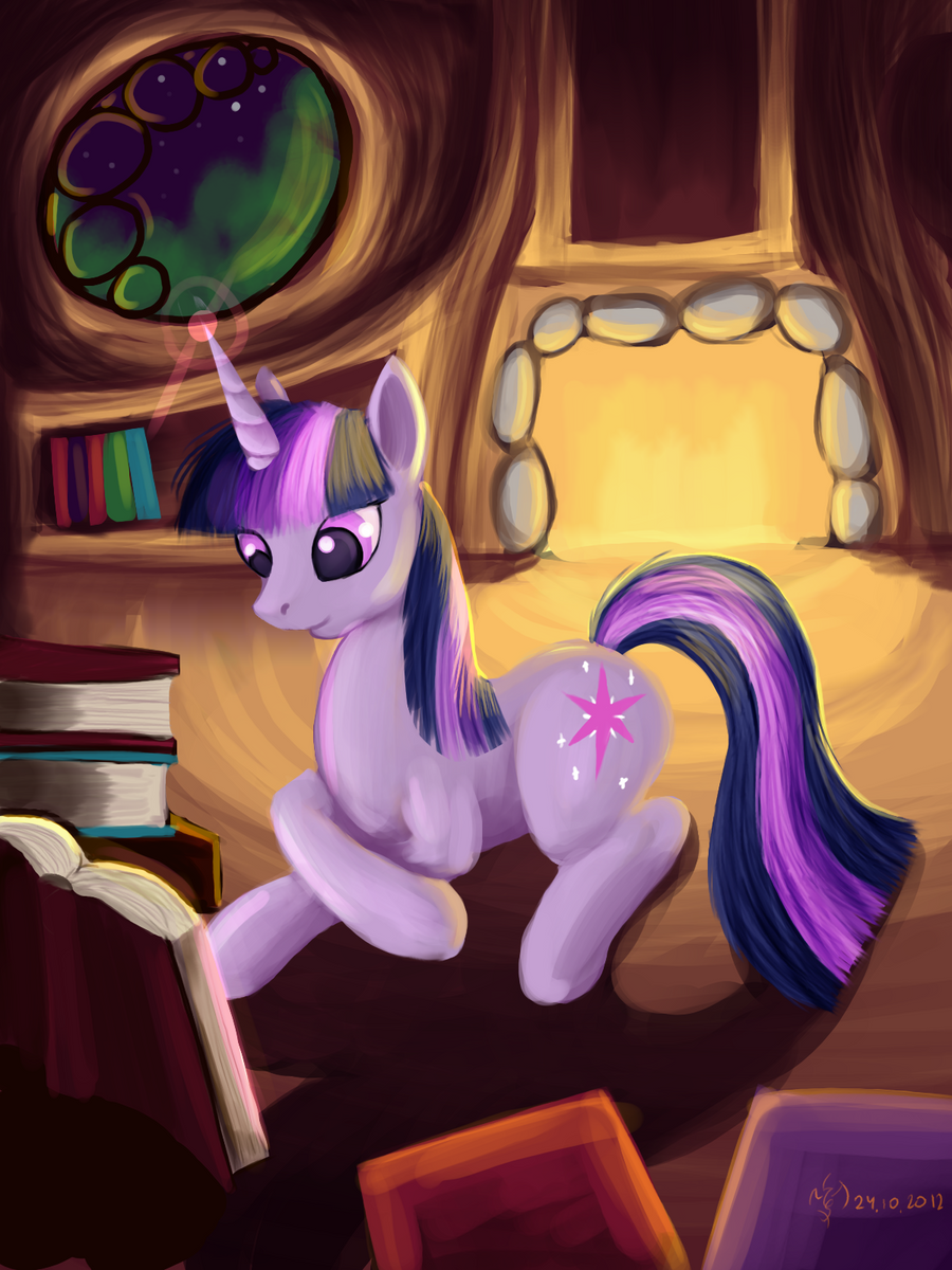 twilight sparkle reading by Dalagar