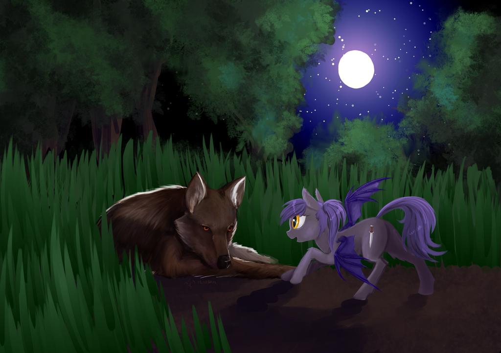 (comission) Wolf and bat-pony by Dalagar