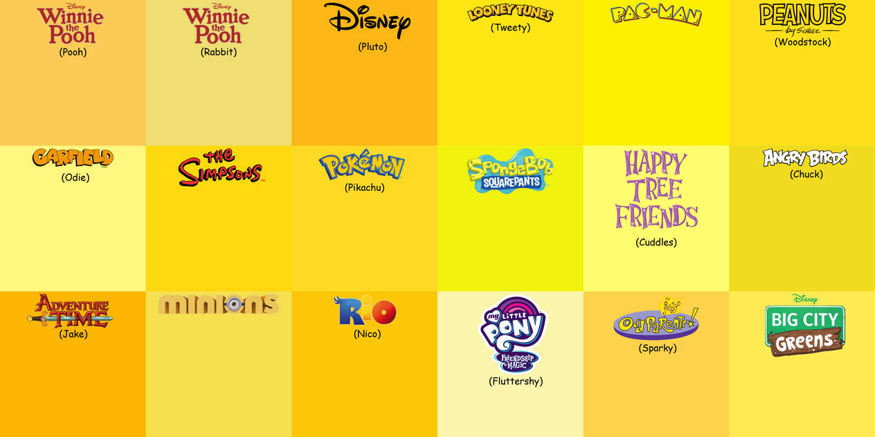 18 Shades of yellow from 17 cartoons by Arthony70100