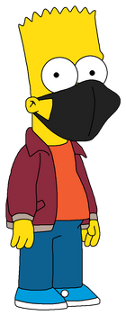 Fall-Winter Bart Simpson wearing a black face mask