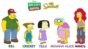 The Greens in The Simpsons style
