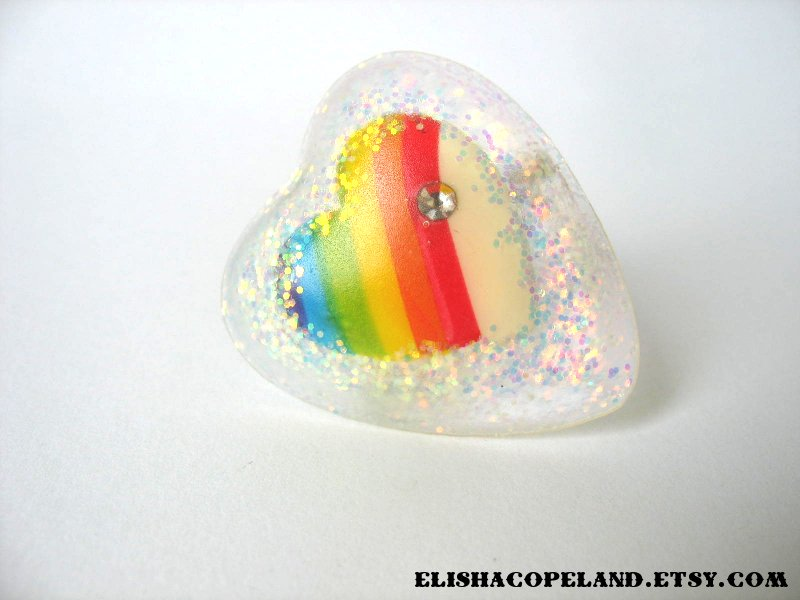 Glitter Rainbow Heart Ring