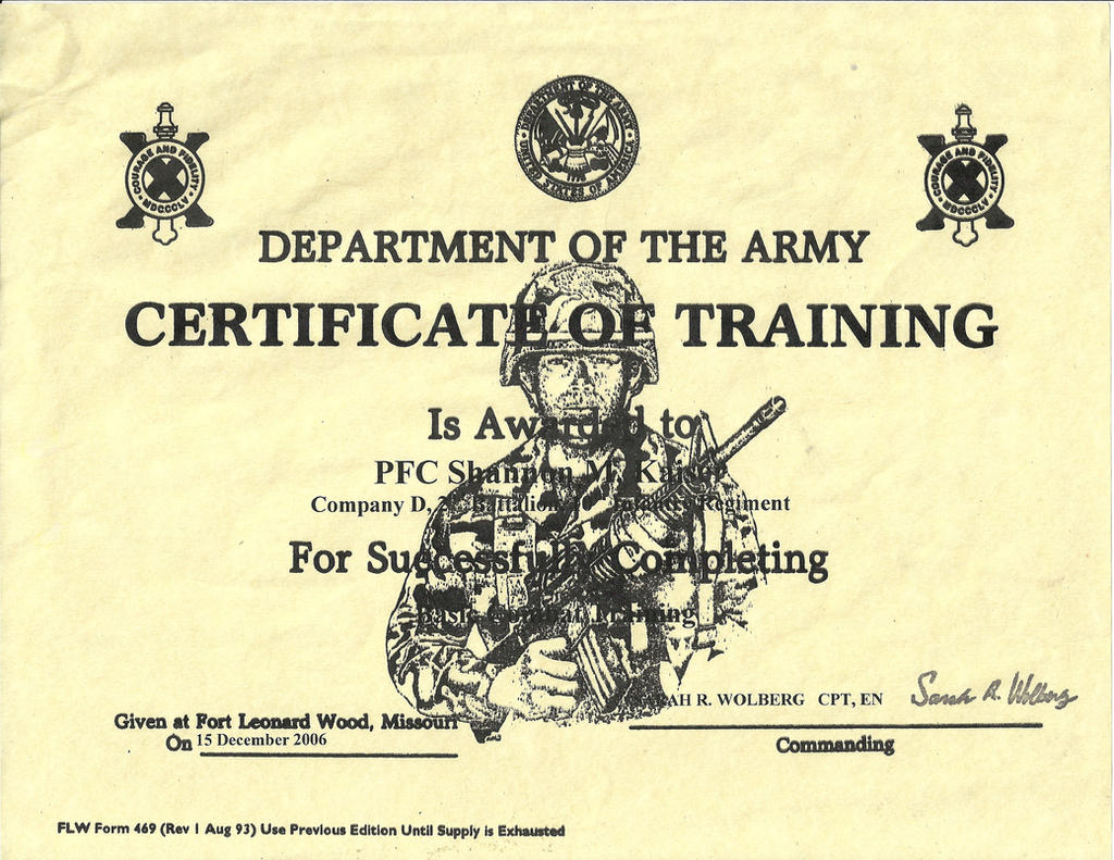 Shannon\'s US Army Training Certificate by Shannonkaiser on DeviantArt