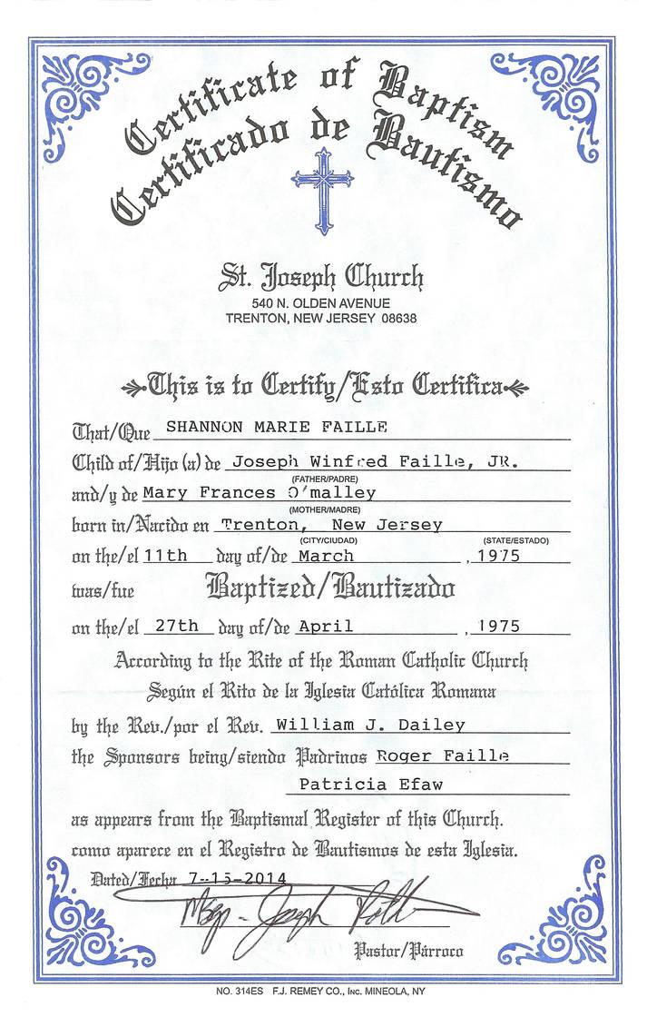 Shannons Baptismal Certificate By Shannonkaiser On Deviantart