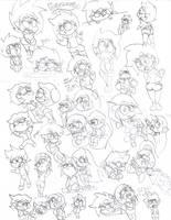 Many YowLife Characters - Sketches by KryssenRobinson