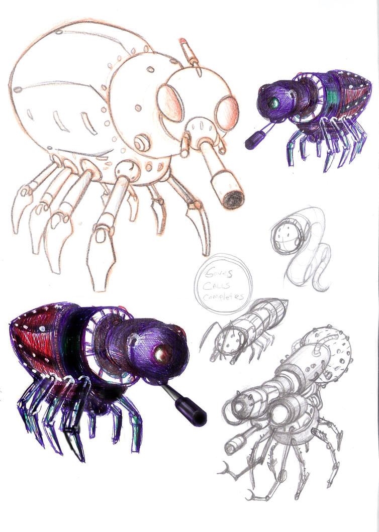 robo insects  by puffychin by Robot-drawing-club