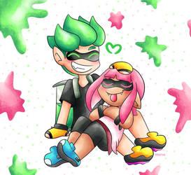 green + pink