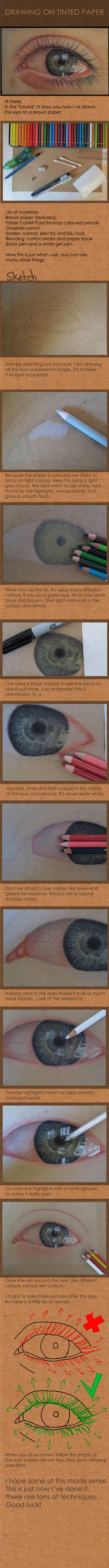 Drawing on tinted paper: Eye