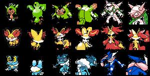 Pokemon X Y Kalos starters full evos gbc sprites