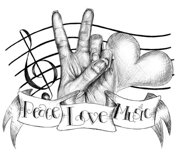 music tattoos. Peace, Love and Music