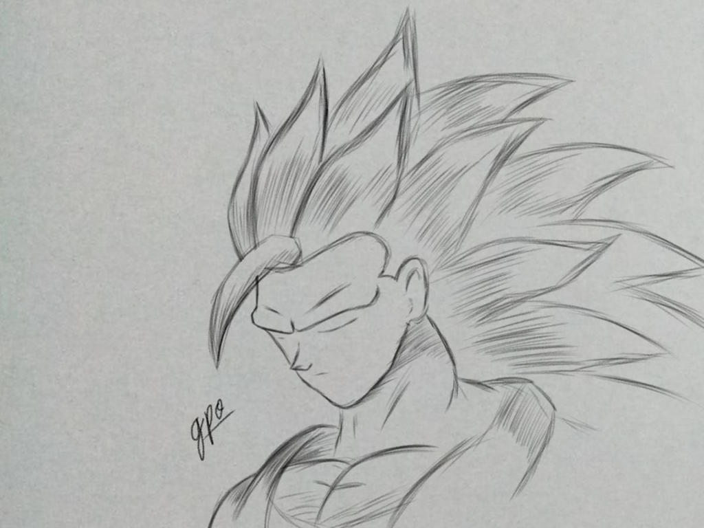 Ss3 goku pencil sketch by gpoorigin on deviantart