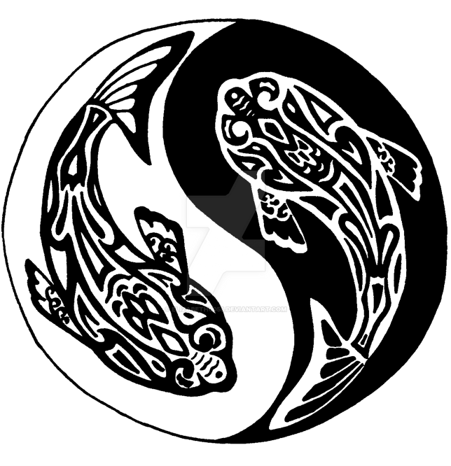 Yin yang koi fish tribal by elizabeth0058 on deviantart for Yin yang fish tattoo