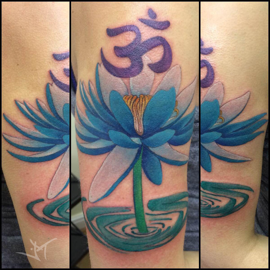 Om and lotus by Janaina