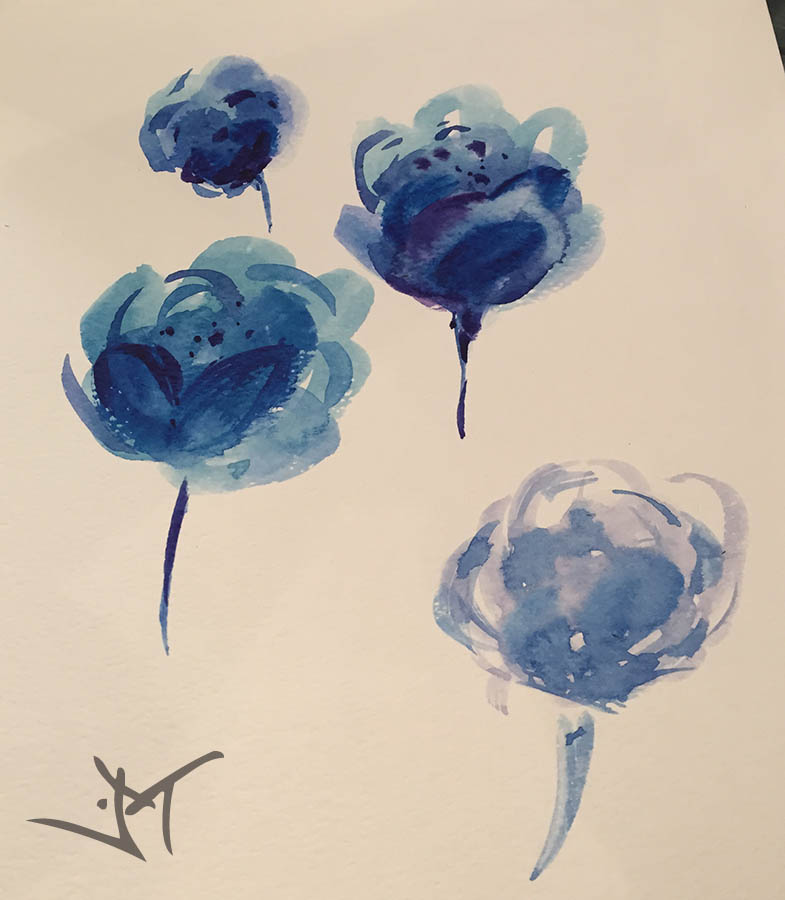 blue flowers drawings by Janaina