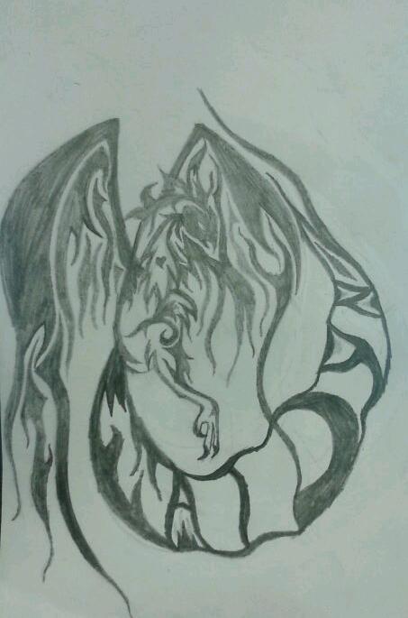 Tribal Phoenix Tattoo Pencil by AlphaWolfAl