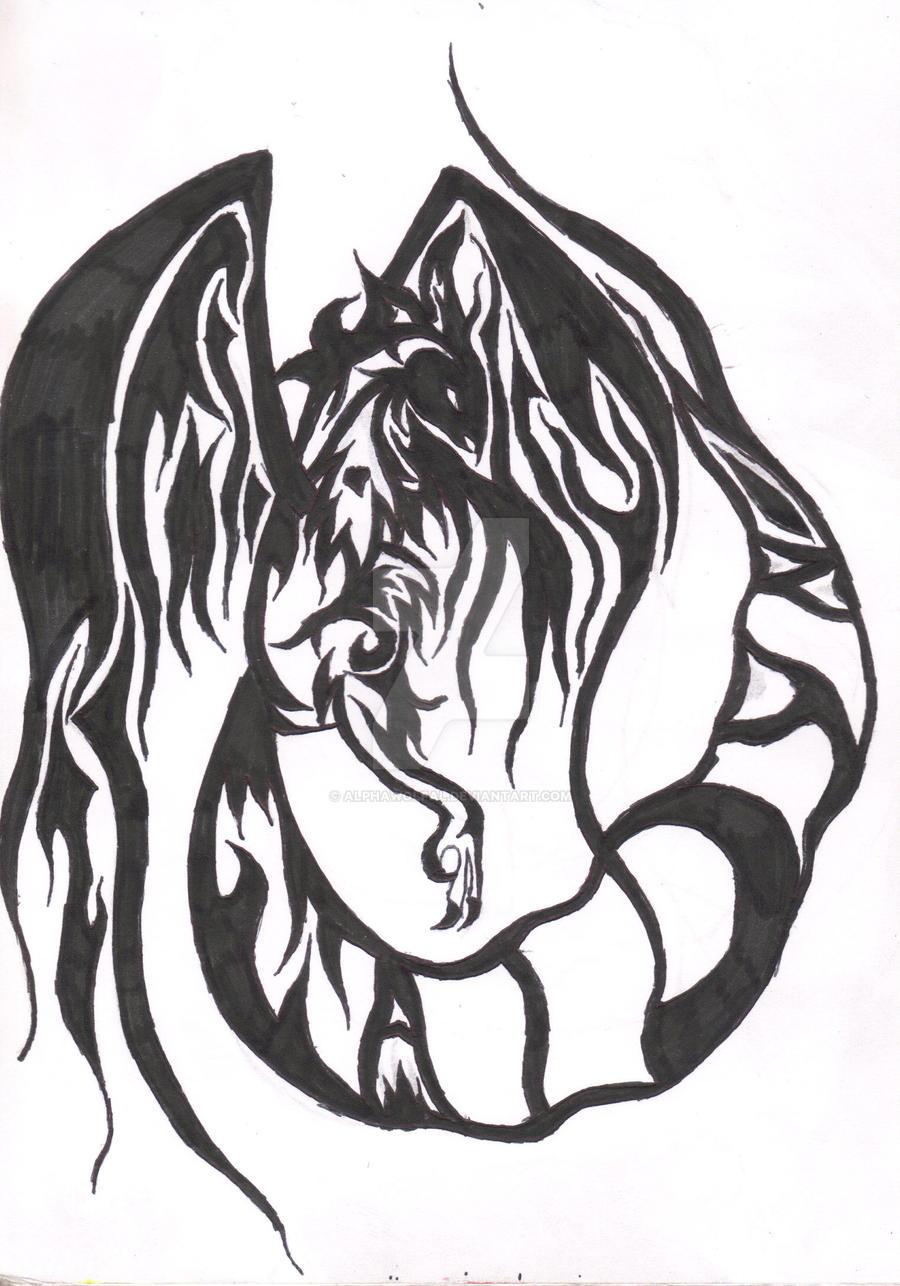 Tribal Phoenix Tattoo Final by AlphaWolfAl