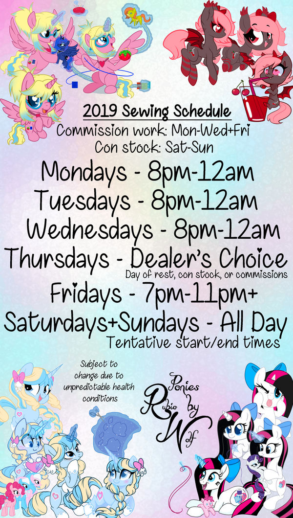 2019 Sewing Schedule