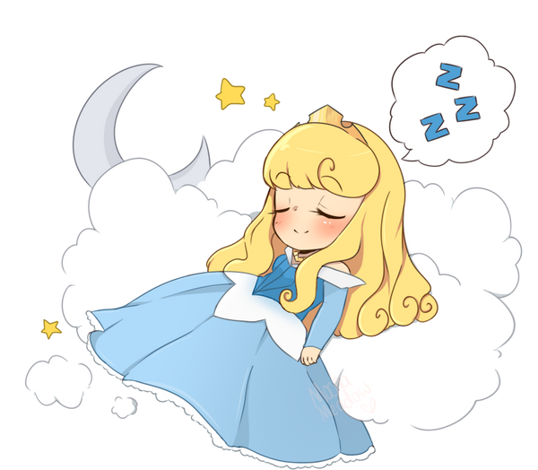 Cartoon Girl Sleeping In Bed