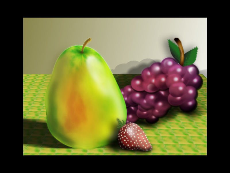 Fruit on a table version 2 by omagrandmother