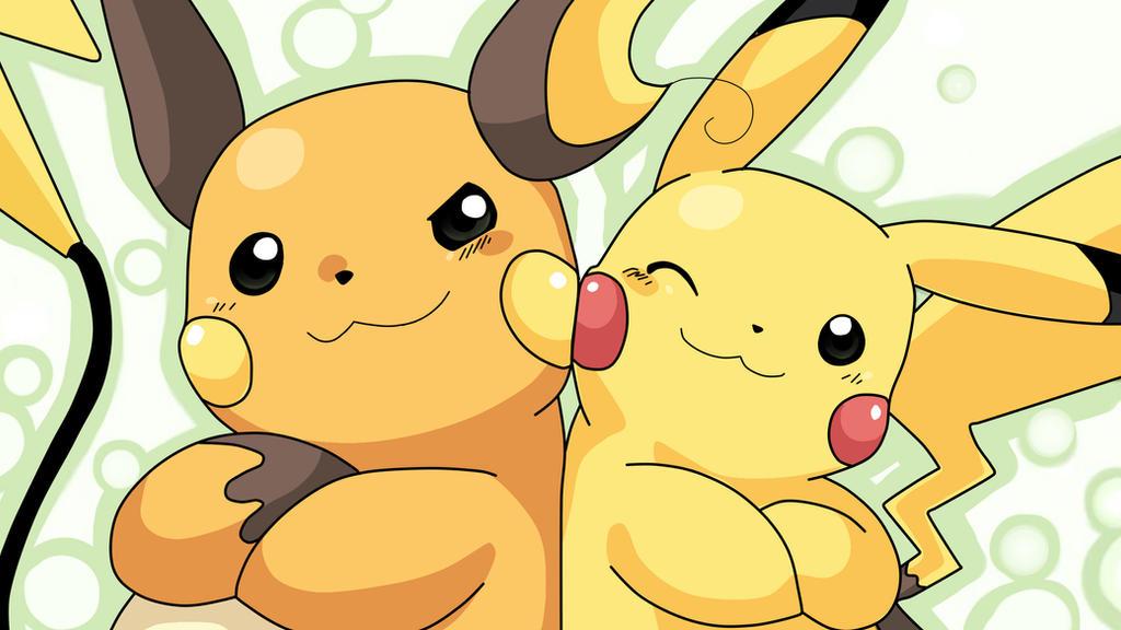 Pikachu and Raichu High-Def Desktop Wallpaper