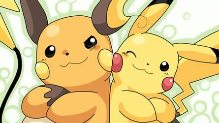 Pikachu and Raichu High-Def Desktop Wallpaper by 55996