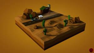 Desert Highway - Lowpoly by Opikus