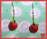 FIMO Red Apple Earrings