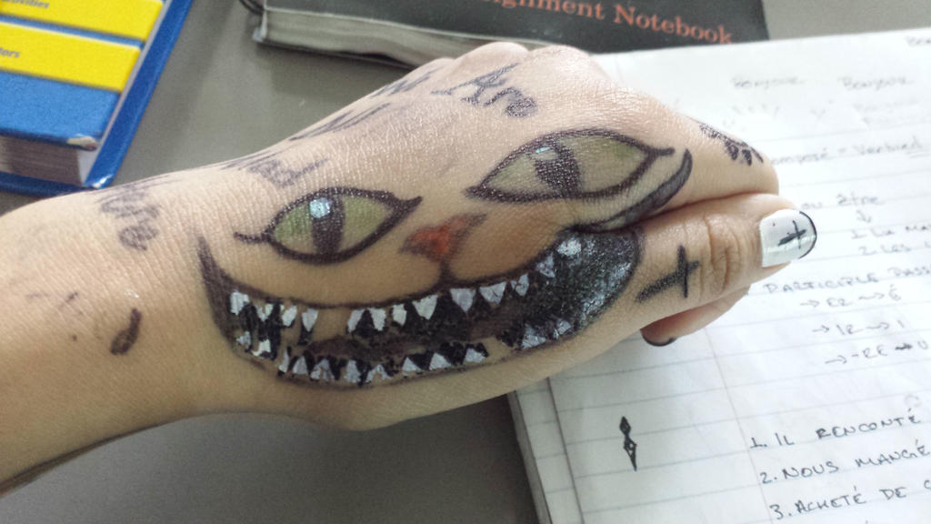 Messed Up Cheshire Cat Sharpie Tattoo by Xochilt15