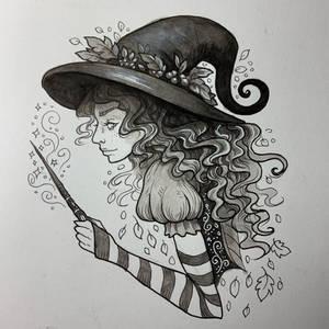 Inktober Seasonal Witch by MadalynMcLeod