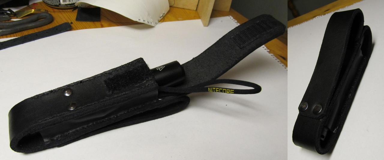 Black leather flashlight holder by Durnstaros