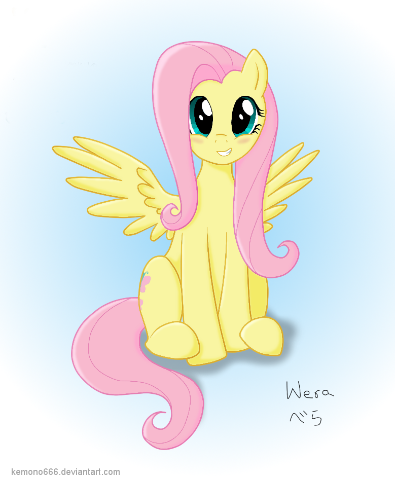 Sitting Fluttershy Digital version by kemono666