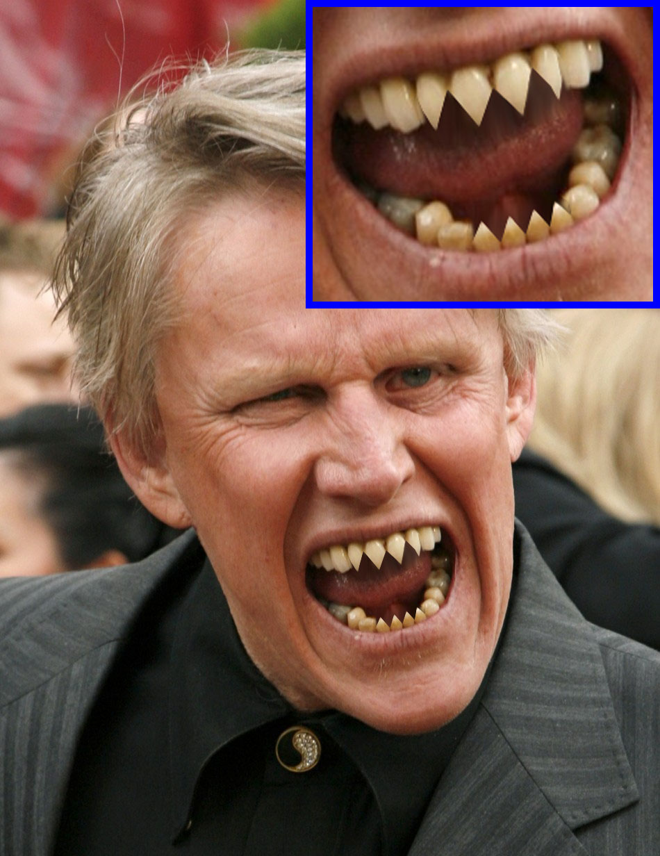 gary busey sharpened his teeth into fangs by geniusspirit