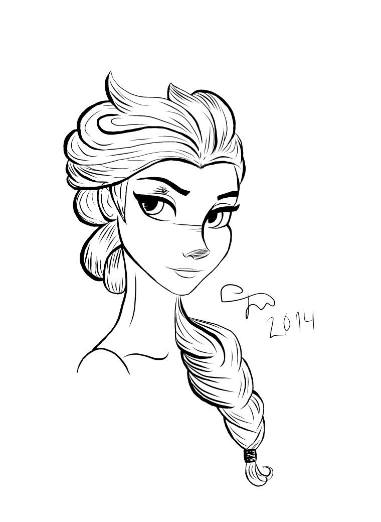Frozen Elsa Lineart by Kardischian