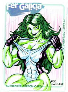 She-Hulk Sketch Card 02 by ferah11